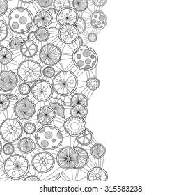 Decorative hand-drawn element border. Abstract zentangle  circles invitation card.