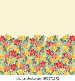 Decorative hand-drawn floral border. Can be used for invitation card, template design for card, as background.