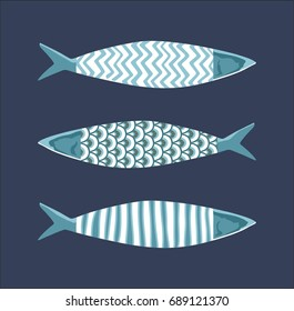 Decorative hand-drawn pattern with sea fish in Scandinavian style