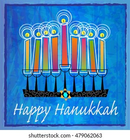Decorative Hanukkah Greetings - Stylized menorah with colorful candles and Happy Hanukkah text on blue abstract background. Eps10