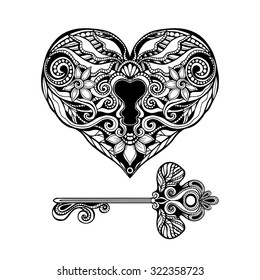 Decorative heart shape key and vintage lock hand drawn isolated vector illustration