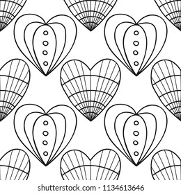 Decorative hearts. Black and white illustration for coloring book or page. Seamless pattern, love background.
