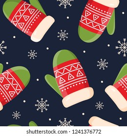 Decorative holiday symbols: mittens and snowflakes on dark background. Christmas decorations for fabrics and decor. Seamless pattern for winter, new year theme. Seasonal vector illustration.