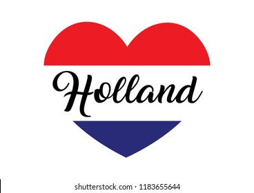 Decorative Holland Text on Heart Shape with the Colors of Holland Flag