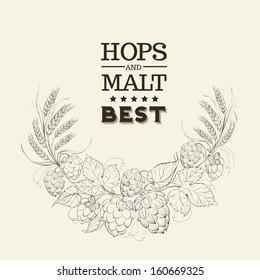 Decorative hops cover design. Vector illustration.