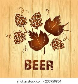 Decorative hops vector illustration. wooden  vintage background