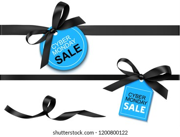 Decorative horizontal black ribbon with bow and blue sale tag for cyber monday sale design. Vector decoration and label isolated on white background