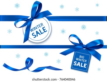 Decorative horizontal blue ribbon with blue bow and sale tag for winter holiday sale design. Vector decoration and label