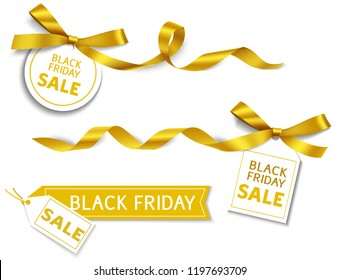 Decorative horizontal golden ribbon with bow and sale tag for black friday sale design. Vector decoration and label