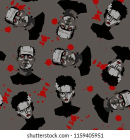 Decorative horror seamless pattern with Frankenstein, his bride and drops of the blood on gray backdrop.