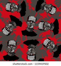 Decorative horror seamless pattern with Frankenstein and blood splatter on gray backdrop.
