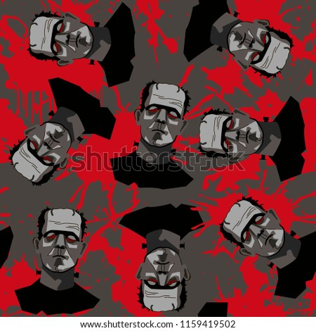 39122fa410b Decorative horror seamless pattern with Frankenstein and blood splatter on  gray backdrop.