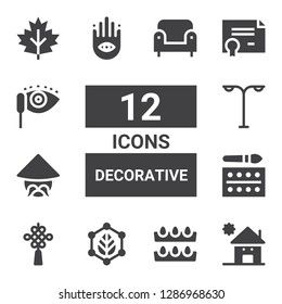 decorative icon set. Collection of 12 filled decorative icons included Kindergarden, Eggs, Leaf, Chinese knot, Watercolor, Chinese, Street light, Buddhism, Certificate, Mascara