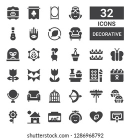 decorative icon set. Collection of 32 filled decorative icons included Certificate, Leaf, Japanese, Terrarium, Kindergarden, Flower, Bonbon, Dragon fly, Arch, Bird cage, Armchair