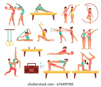 Decorative icons set with gymnastics including girls with sports tools and acrobatics on beam isolated vector illustration