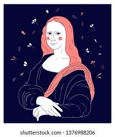 Decorative illustration of Mona Lisa by Leonardo da Vinci. Print for t shirt design.