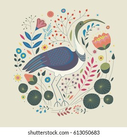 Decorative illustration on a beige background depicting a standing bird ibis, around which the different flowers, plants and leaves.