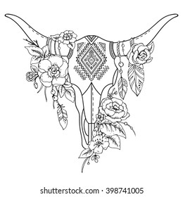 Decorative Indian bull skull with ethnic ornament, feathers, flowers and leaves. Hand drawn vector illustration for tattoo, print on t-shirt