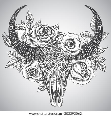 Decorative Indian Bull Skull Tattoo Tribal Stock Vector Royalty
