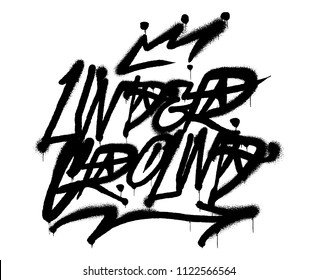 "Decorative inscription ""underground"" in Graffiti style on wall by using aerosol spray paint. Street style type for poster cover print clothes pin patch sticker Modern vector illustration vandal design"