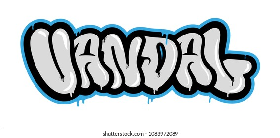 "Decorative inscription ""Vandal"" in Graffiti style on wall by using aerosol spray paint. Street style type for poster cover print clothes pin patch sticker. Modern vector illustration flat design."