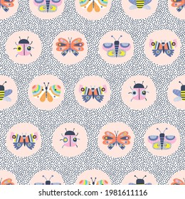 Decorative insect medallion vector seamless pattern. Whimsical Butterfly Ladybug Bee in roundel on dotty background. Scandinavian childish colourful summer print design.
