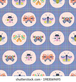Decorative insect medallion vector seamless pattern. Whimsical Butterfly Ladybug Bee in roundel on checkered background. Scandinavian childish colourful summer print design.