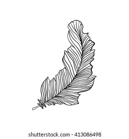 Decorative isolated feather. Aztec native ornament in doodles style.