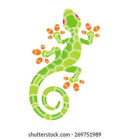 Decorative isolated lizard on the white background. Vector illustration
