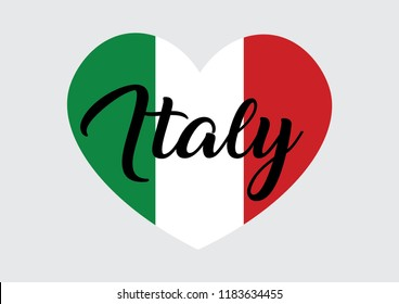 Decorative Italy Text on Heart Shape with the Colors of Italy Flag