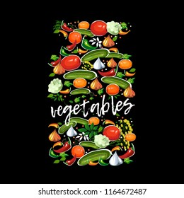 Decorative jar with salted vegetables, spices and greens on black background. Vector.