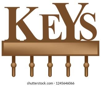 Decorative key organizer rack with five hooks