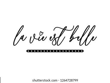 "Decorative ""La Vie est Belle"" (Life is Beautiful in French) Text, Rhinestone Applique Print for Textile, Crystal Embellishment for Fashion Apparel, Jewelry Ornament for Hotfix Transfer"