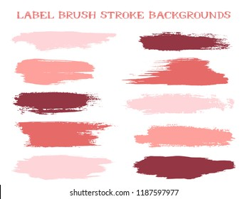 Decorative label brush stroke backgrounds, paint or ink smudges vector for tags and stamps design. Painted label backgrounds patch. Interior paint color palette swatches. Ink dabs, red pink splashes.