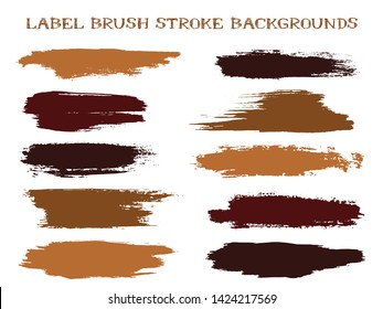 Decorative label brush stroke backgrounds, paint or ink smudges vector for tags and stamps design. Painted label backgrounds patch. Interior paint color palette samples. Ink dabs, brown splashes.