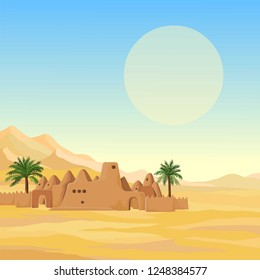 Decorative landscape - desert, mountains, African ancient mosque from clay. Background, template, card. Place for text. Vector illustration.