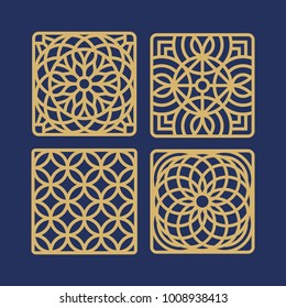 Decorative Laser cut coaster designs. Circle pattern. Laser cut. Ratio 1:1. Square. Plywood.