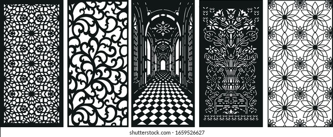 decorative laser cutting- vector- 5 piece