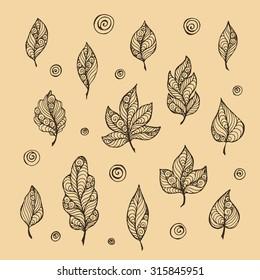 Decorative leaf vector hand-drawn illustration