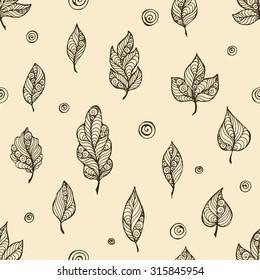Decorative leaf vector hand-drawn seamless pattern
