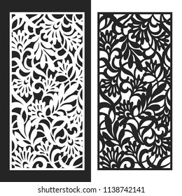 Decorative leaves and flowers vector CNC Laser Cut Panel