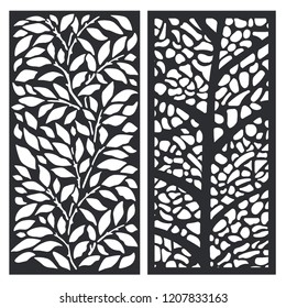 Decorative leaves and tree panel for laser cut