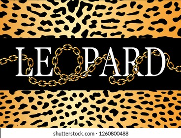 """Decorative """"Leopard"""" text with golden chain illustration"""