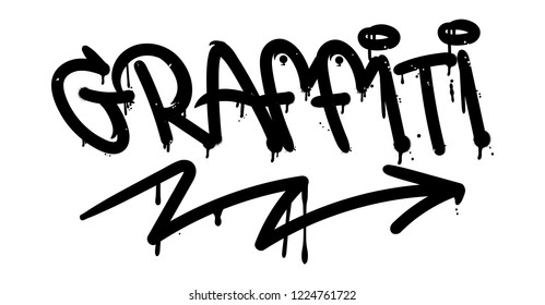 Decorative lettering in Graffiti bombing tag style on wall by using aerosol spray paint or marker. Street type for poster cover print clothes sticker decor accessories. Criminal vandal design.