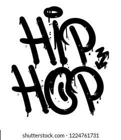 "Decorative lettering ""Hip Hop"" rap battle music in Graffiti bombing tag style on wall by using aerosol spray paint or marker. Street type for poster cover print clothes sticker. Criminal vandal design"