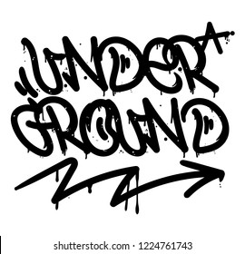 "Decorative lettering ""under ground"" in Graffiti bombing tag style on wall by using aerosol spray paint or marker. Street type for poster cover print clothes sticker decor. Criminal vandal design."
