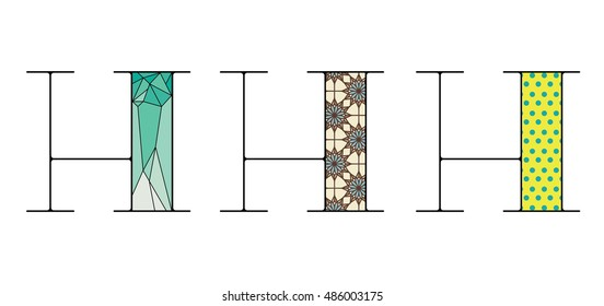 Decorative letters set with pattern variations. Latin letter H or cyrillic ?