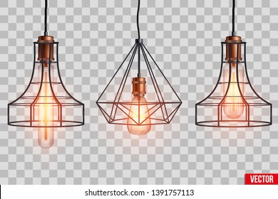 Decorative  light bulb in Retro design copper wire lampshade. Original Vintage design. Switch on. Vector Illustration isolated on transparent background