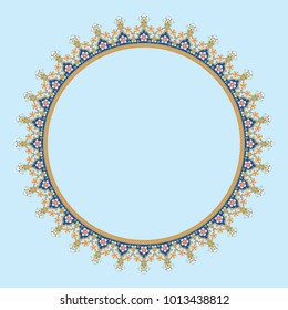 Decorative line art frame for design template. Elegant vector element for design in Eastern style, place for text. Golden outline floral border. Lace illustration for invitations and greeting cards.