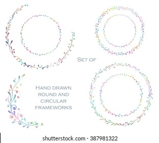 Decorative line art frames for design template. Eastern style, place for text. Watercolor floral border, doodle. Lace hand drawn vector illustration for invitations and greeting cards.